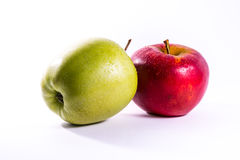 Red Green Apples Together Pair Couple Fruit Fresh Food Delciious. White Isolated Background Stock Photo