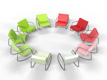 Red and Green Armchairs in a Circle Stock Photos