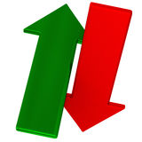 Red and green arrow 3d Stock Images
