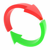 Red and green arrows. Cycle. Stock Photos