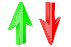 Red and green arrows. 3d UP and DOWN signs. Vector illustration isolated on white background stock illustration