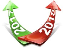 2017 2018 Red and Green Arrows - New Year. 3D illustration - Red and green arrows with the year 2017 and 2018 tending upward.  on white background Stock Photos