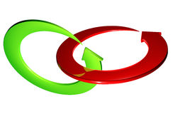 Red and green arrows ring rotating Stock Images