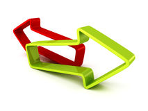 Red and green arrows on white background. 3d render illustration Royalty Free Stock Photography