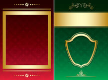 Red and green vector backgrounds with ornaments Stock Images