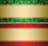 Red and green vector backgrounds with golden decor - cards stock illustration