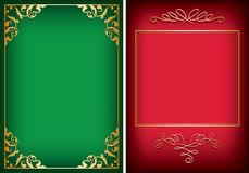 Red and green backgrounds with golden decorative frames - vector. Red and green backgrounds with golden decorative frames -  vector Royalty Free Stock Photos