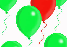 Red and green balloons. Red balloon among green balloons on the white background Royalty Free Stock Images