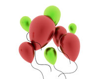 Red and green balloons isolated. On white background Stock Photography
