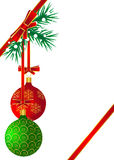 Red and green balls hanging on the Christmas tree Stock Photography