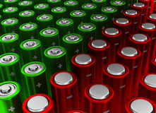 Red and green batteries Stock Photography
