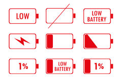 Red Green Battery Indicator Icons Stock Photo
