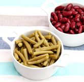 Red and green beans Stock Photos