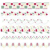 Red, green and beige borders or trims. Over white vector illustration