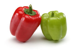 Red and Green Bell pepper royalty free stock images
