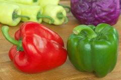 Red and Green bell pepper Stock Images