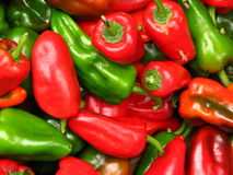 Red and Green Bell Peppers stock photography