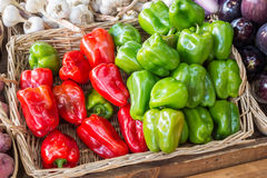 Red and green bell peppers Royalty Free Stock Photos