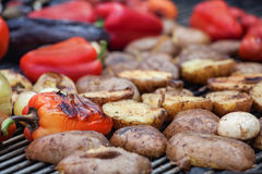 Red, green bell peppers, potatoes, mushrooms, tomatoes and eggplant grilled until golden brown. Stock Photography