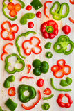 Red and Green Bell Peppers slices Royalty Free Stock Photos