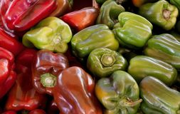 Red and Green belll peppers. Natural background royalty free stock images