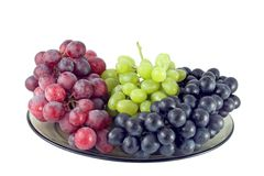 Red, Green and Black Grapes. On white background Stock Image