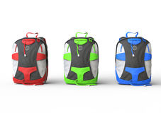Red, green, and blue backpacks Stock Photo