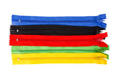 Red, green, blue, black, yellow zipper isolated on white backgro. Und Stock Images