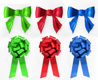 Red, green  and blue bows. Royalty Free Stock Photos