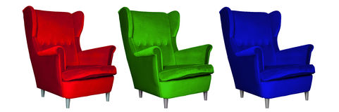 Red, green and blue chair, RGB model Royalty Free Stock Photo