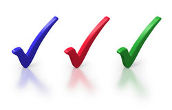 Red, green and blue check marks. Or ticks on white background Royalty Free Stock Photos