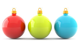 Red, green and blue christmas baubles Royalty Free Stock Photos