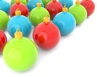Red, green and blue christmas baubles Royalty Free Stock Images