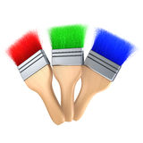Red green blue color paintbrush Stock Photography