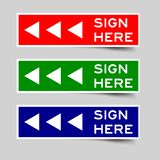 Red, green and blue color of sign here with arrow icon label Vector. Red, green and blue color of sign here word with arrow icon label Vector vector illustration