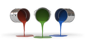 Red, Green and Blue Colored Paint Container Stock Image