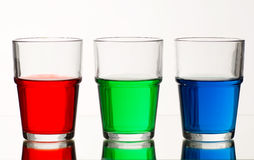 Red green blue coloured liquid Stock Photo