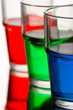 Red green blue coloured liquid Stock Images
