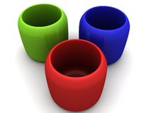 Red Green Blue cups Stock Image