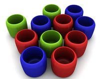 Red Green Blue cups Stock Images