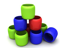 Red Green Blue cups Royalty Free Stock Photo