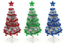 Red, green and blue decorated Christmas tree Royalty Free Stock Photography