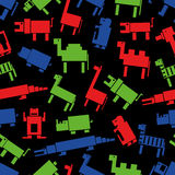 Red green blue digital retro animals pattern eps10 Royalty Free Stock Photography