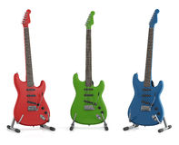 Red green and blue electric guitar Royalty Free Stock Image
