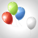Red green blue flying balloons. Rgb concept Stock Photography