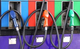 Red green  blue Gas station Royalty Free Stock Photos
