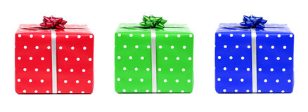 Red, green and blue gifts Stock Image