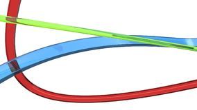 Red, green and blue glass abstract ribbons and flows. On white background Stock Photos