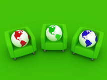 Red green blue Globes and sofa Royalty Free Stock Photography
