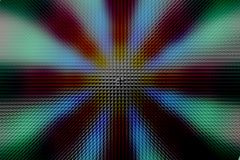 Multicolored radial circle dark pattern, pyramid effect. Red, green, blue, grey and black radial circle pattern, pyramid effect stock photo